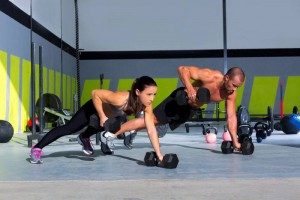 Renegade Row with dumbbells