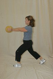 Forward Lunge with Medicine Ball - Chest Side