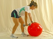 Single Arm Row Physio Ball
